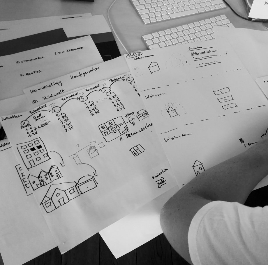 Black and white photo of manual sketches of the structure of the animations within the Deutsche Telekom Mesh Assistant